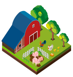 3d design for barn scene with many animals vector image