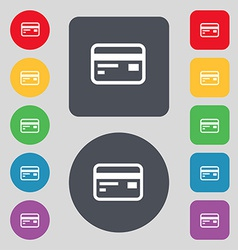Credit debit card icon sign a set of 12 colored vector