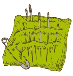 Green pincushion with safety pin and needles vector