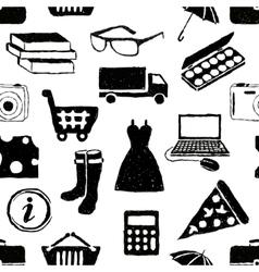 Doodle shopping seamless pattern vector