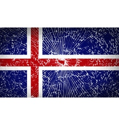 Flags iceland with broken glass texture vector