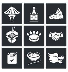 China and russia icons set vector