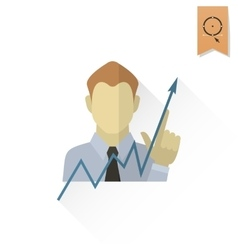 Business graph with hand pointing up vector