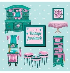 Vintage furniture interior old object vector