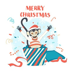 Funny merry christmas card with monkey jumping out vector