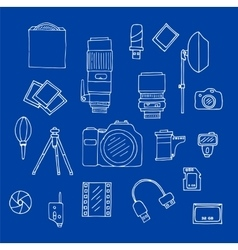 Photography equipment doodle set vector