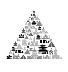 World religions types of temples icons in pyramid vector