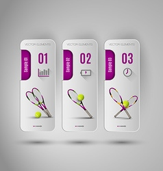 Realistic tennis objects on the gray business vector