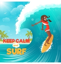 Summer vacation surfing flat colorful poster vector