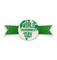 World environment day banner and ribbon vector