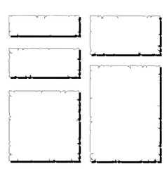 Set of white ripped old paper frame with shadow vector
