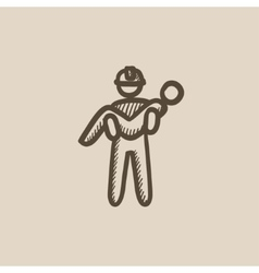 Fireman holding person on hands sketch icon vector image