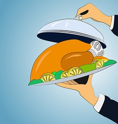 Baked chicken on a platter holding hands vector