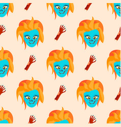 Colorful zombie scary cartoon character seamless vector