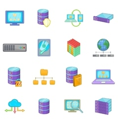 Data base icons set cartoon style vector
