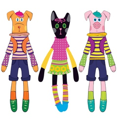 Doll dog cat and pig vector