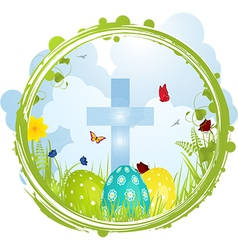Easter border with Cross and eggs vector image