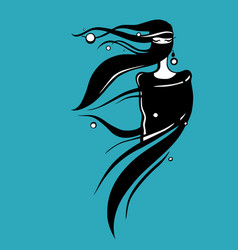 eastern woman silhouette hand drawn vector image vector image