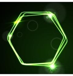 Glow green neon hexagon shiny design vector image vector image