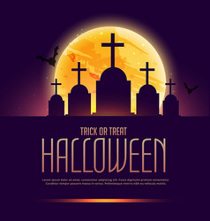 Halloween grave poster with moon vector