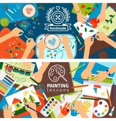 Handmade creative kids banners vector