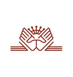 hands and crown linear emblem vector image