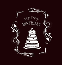Happy birthday vintage frames and floral ornaments vector