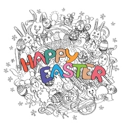 Happy easter isolated on black and white doodle vector