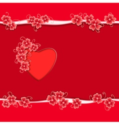 Heart paper flower copy vector image vector image