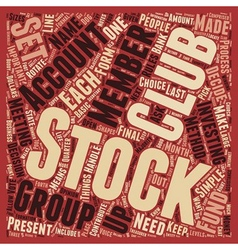 How to form stock club text background wordcloud vector