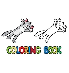 Jumping or flying cat coloring book vector