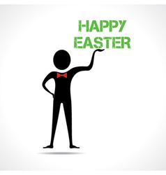 Man holding happy easter text vector image vector image