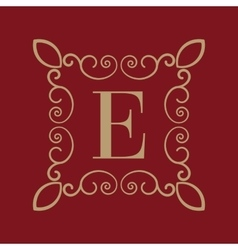 Monogram letter e calligraphic ornament gold vector