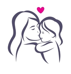 mother and daughter stylized silhouette outlined vector image vector image