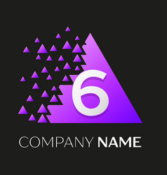 number six logo in the colorful triangle vector image