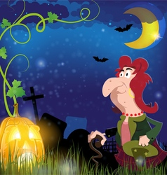 Old witch and jack o lantern vector