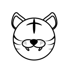 outline tiger head animal vector image vector image