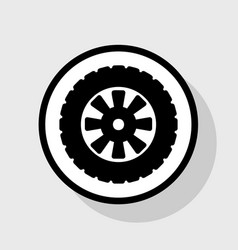Road tire sign flat black icon in white vector