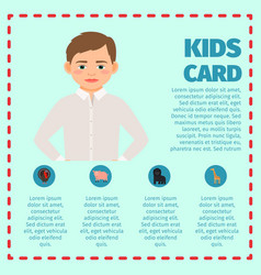 Sad boy kids card infographic vector