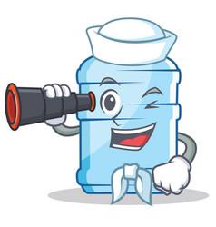 Sailor with binocular gallon character cartoon vector