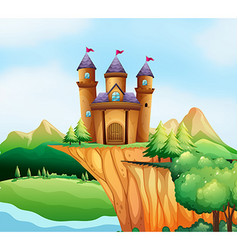 Scene with castle towers on the cliff vector image vector image