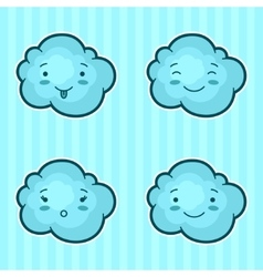 Set of kawaii clouds with different facial vector