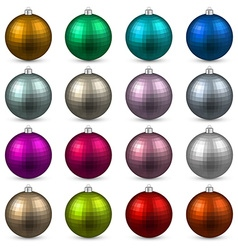 Set of textured realistic christmas balls vector image