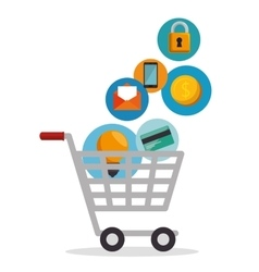 shopping cart online app vector image