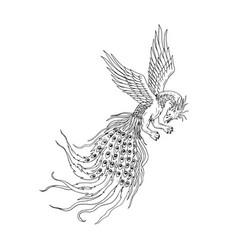 Simorgh or simurgh flying drawing vector