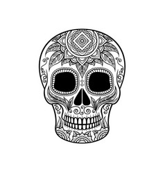 sugar skull with floral ornament dia de muertos vector image