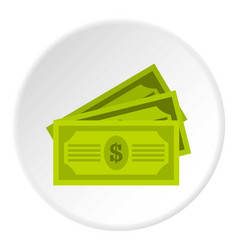 Three dollar bills icon circle vector