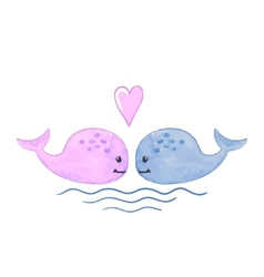 Watercolor of a cute cartoon whale with heart and vector image