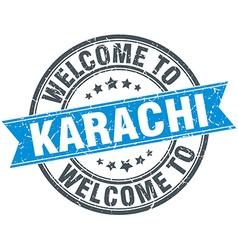 Welcome to karachi blue round vintage stamp vector