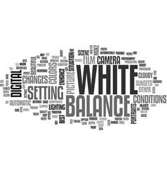 White balance text word cloud concept vector